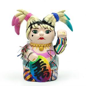 Kiborineko, gato de la suerte caracterizado como Harley Quinn